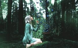 Aperçu fond d'écran Fille avec papillon dans la forêt, de la conception
