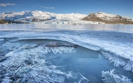 Aperçu fond d'écran Islande, montagnes, glace, hiver, congelé