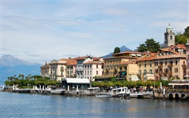 Italy, Lake Como, Lombardy, buildings, pier, mountains