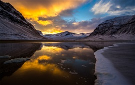 Preview wallpaper Lake, mountains, sunset, ice, cold, snow, clouds