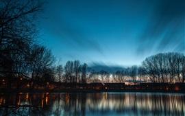 Cenário do lago crepúsculo, casas, árvores, lagoa, à noite