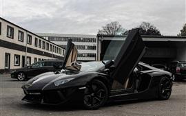 Lamborghini Aventador LP700-4 supercarro preto vista lateral