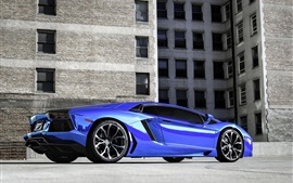 Preview wallpaper Lamborghini Aventador LP700-4 blue supercar in the city