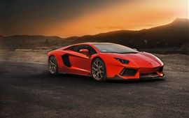 Preview wallpaper Lamborghini Aventador LP740 red supercar, sunset