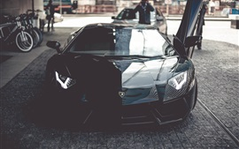 Preview wallpaper Lamborghini Aventador black supercar front view, door opened