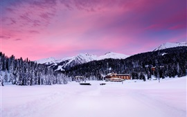 Madonna di Campiglio, Italy, Alps, mountains, trees, snow, houses, dusk