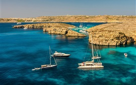Preview wallpaper Malta scenery, sea, rocks, yachts