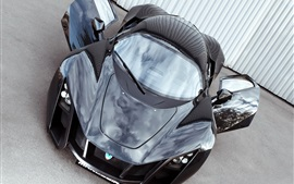 Preview wallpaper Marussia B2 black supercar front view, doors opened