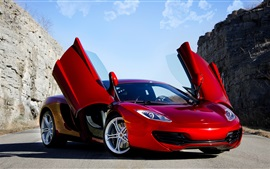 McLaren MP4-12C red supercar, doors opened