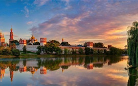 Preview wallpaper Moscow, Novodevichy Convent, summer, river, trees, dusk