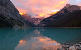 Preview wallpaper Mountains, forest, lake, sunset
