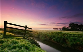 Preview wallpaper Nature landscape, morning, dew, grass, fence, river, fog, trees
