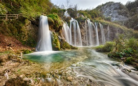 Preview wallpaper Plitvice National Park, nature landscape, waterfalls, river