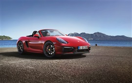 Preview wallpaper Porsche Boxster GTS red supercar