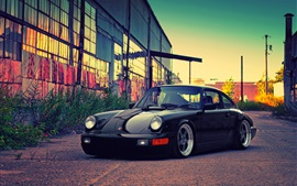 Preview wallpaper Porsche black car, building, dusk