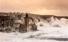 Porthleven, Inglaterra, Reino Unido, casas, tempestade