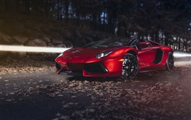 Preview wallpaper Red Lamborghini Aventador LP700-4 supercar at night