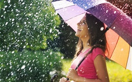 Preview wallpaper Smile joy girl, umbrella, rain, summer