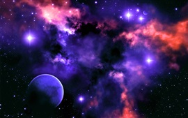 Preview wallpaper Space, nebula, stars, planet, light, colors