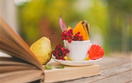 Preview wallpaper Still life, book, pears, leaves, cup, saucer, berries