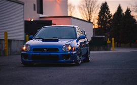 Subaru blue car front view