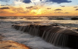 Preview wallpaper Sunset sea scenery, ocean, sky, clouds, streams, rocks