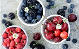 Preview wallpaper Sweet fruit, blackberries, blueberries, raspberries, cherries