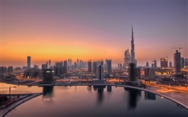 Preview wallpaper UAE, Dubai, lights, dawn, city buildings