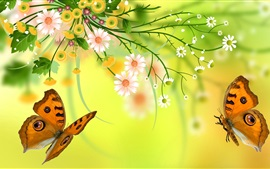 Preview wallpaper Vector flowers, butterfly, design