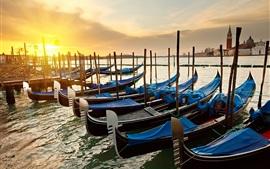 Venecia, Italia, mañana, salida del sol, canal, muelle, barcos