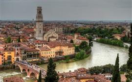 Verona, Italy, Adige River, Ponte Pietra Bridge, buildings