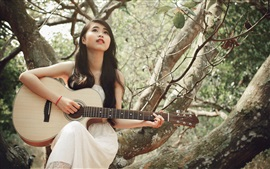 Preview wallpaper White dress girl, asian, guitar