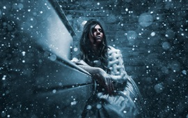 Preview wallpaper Winter, snow, girl, cold