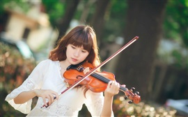 Preview wallpaper Asian girl, violin, music, sunlight
