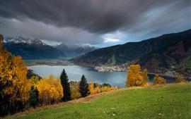Preview wallpaper Austria scenery, mountains, lake, autumn