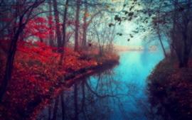 Bela paisagem, rio, outono, natureza, folhas vermelhas, árvores
