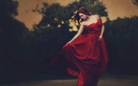 Beautiful red dress girl, dusk