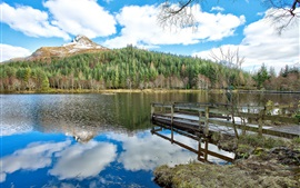 Blue sky, clouds, mountain, forest, lake, pier