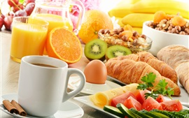 Breakfast, coffee, croissants, kiwis, oranges, food