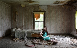 Preview wallpaper Broken room, interior, blue dress girl