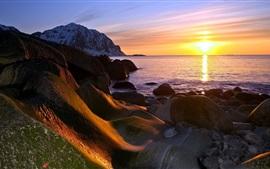 해안 일몰, 바다, 태양, 산, 바위