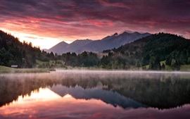 Preview wallpaper Dawn landscape, nature, mountains, forest, lake, morning, fog
