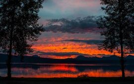 Preview wallpaper Dusk landscape, lake, trees, mountains, sunset, twilight