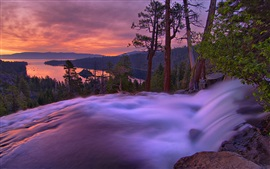 Preview wallpaper Dusk landscape, mountains, lake, trees, waterfall, sunset