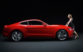 Preview wallpaper Ford Mustang GT red muscle car with girl