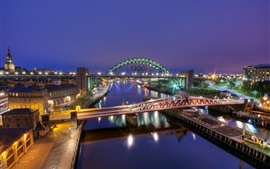 Preview wallpaper Gateshead, England, river, bridge, night city, buildings