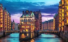 Alemanha, Hamburgo, noite, casas, luzes, rio, ponte