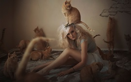 Preview wallpaper Girl with cat in room