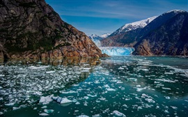 Preview wallpaper Glacier Bay National Park, Alaska, mountains, glaciers, ice, river