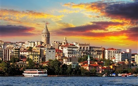 Istanbul, turkey, buildings, sea, boat, clouds, sunset